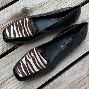 Antonio Melani Patent Leather & Zebra Print Flats